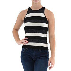 INC Metallic Sleeveless Striped Knit Top #AU16